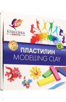Пластилин Детство 12 цветов (7С 331-08) набор цветной фольги бриз голографическая 7 цветов 1125 331