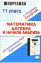Дорофеев Николай Шпаргалка по математике и алгебре началам анализа: Экзаменационные варианты за 11 класс
