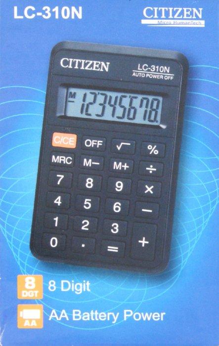 Иллюстрация 1 из 5 для Калькулятор карманный Citizen 8-разрядный (LC-310N)   Лабиринт - канцтовы. Источник: Лабиринт
