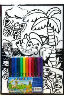 Бархатные раскраски. Слоненок и бабочка.