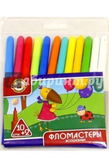 Фломастеры 10 + 2 цветов (7302/10+2) hasbro play doh игровой набор из 3 цветов цвета в ассортименте с 2 лет