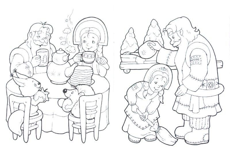 Картинки и раскраски к сказке мороз иванович