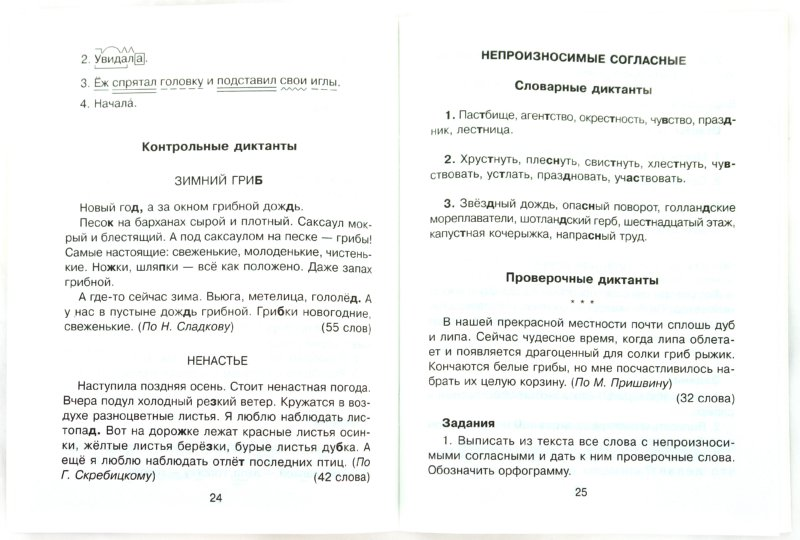 Итоговый диктант по русскому языку за ii четверть в 4 классе виноградова