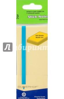 Бумага самоклеящаяся 3х100 листов 50х40мм (682011-01) желтая