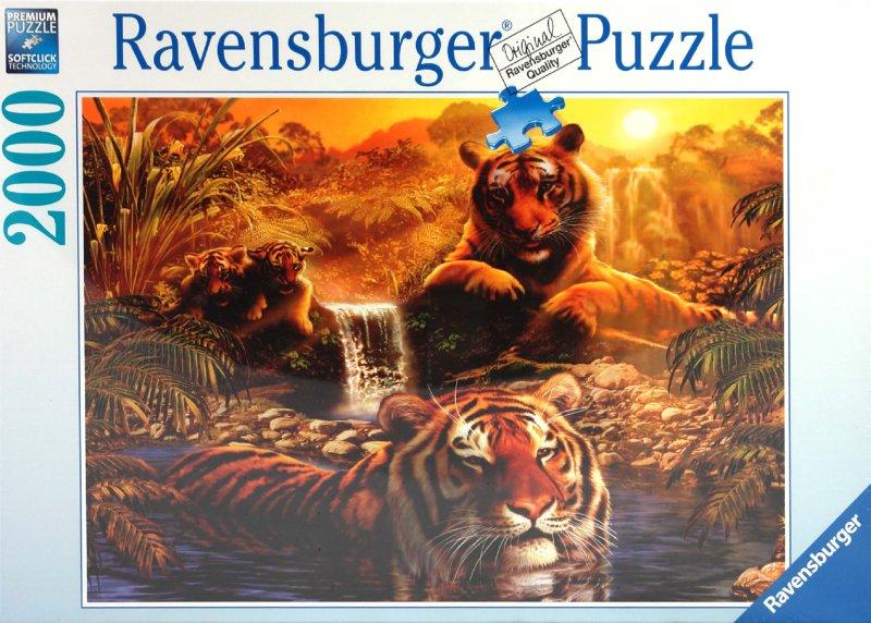 """Иллюстрация 1 из 2 для Пазл-2000 """"Тигры на водопое"""" (166466)   Лабиринт - игрушки. Источник: Лабиринт"""