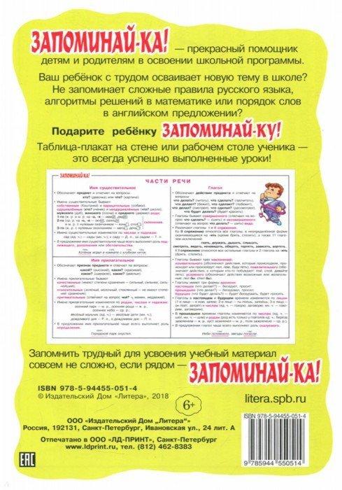 Иллюстрация 1 из 11 для Русский язык. Части речи. Для учащихся 2-5 классов. Плакат   Лабиринт - книги. Источник: Лабиринт