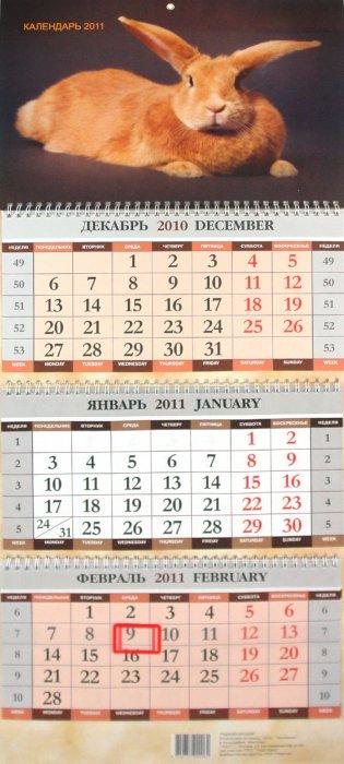 """Иллюстрация 1 из 3 для Календарь """"Рыжий кролик"""" квартальный 2011   Лабиринт - сувениры. Источник: Лабиринт"""