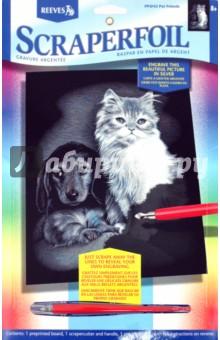 """Гравюра серебряная """"Котенок и щенок"""" (PPSF42)"""