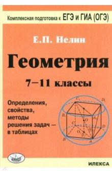 Геометрия. 7-11 классы. Определения, свойства, методические решения задач - в таблицах