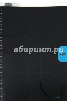 """Тетрадь """"Stila Accent"""" 96 листов, А4, клетка, черно-голубая (110441)"""