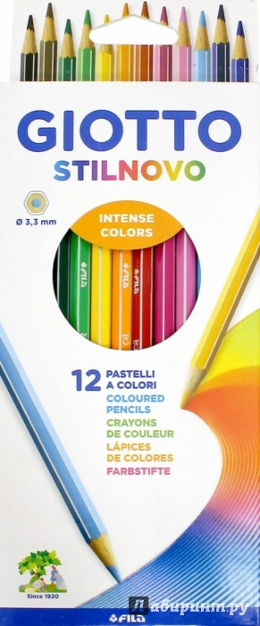 Иллюстрация 1 из 6 для Карандаши цветные GIOTTO STILNOVO: 12 штук, 12 цветов (256500) | Лабиринт - канцтовы. Источник: Лабиринт