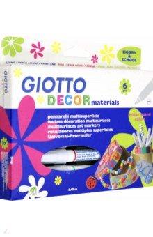 Фломастеры для декорирования различных поверхностей Giotto Decor Materials. 6 цветов (453300)