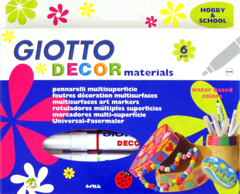 Иллюстрация 1 из 5 для Фломастеры для декорирования различных поверхностей Giotto Decor Materials. 6 цветов (453300)   Лабиринт - игрушки. Источник: Лабиринт