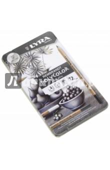 Набор карандашей для черно-белого рисования 12 штук, в металлической коробке (L2001122) LYRA
