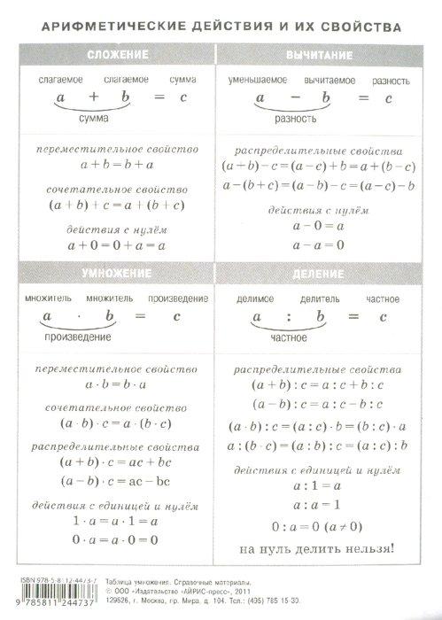 Иллюстрация 1 из 9 для Таблица умножения. Арифметические действия и их свойства | Лабиринт - книги. Источник: Лабиринт