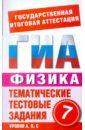 Бойденко М. В., Мирошкина О. Н. ГИА-12. Физика. 7 класс. Тематические тестовые задания для подготовки к ГИА