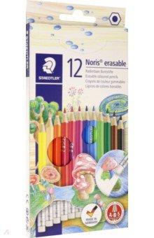 Карандаши Noris Club (12 цветов, с ластиком) (144 50NC12 Noris Club 144 50) карандаши цветные трехгранные noris club jumbo 6 цветов 128nc6