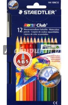 Карандаши акварельные (12 цветов + кисть) (144 10NC12 Noris Club 144 10) карандаши цветные трехгранные noris club jumbo 6 цветов 128nc6