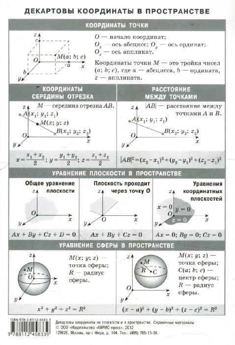 Иллюстрация 1 из 5 для Декартовы координаты на плоскости и в пространстве. Наглядно-раздаточное пособие | Лабиринт - книги. Источник: Лабиринт