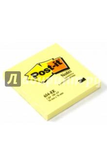 Блокнот с клеевым краем 76х76 мм, 100 листов, желтый (124106/654-EE)