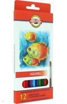 """Карандаши цветные, 12 цветов """"Рыбки"""" (акварель) (3716)"""