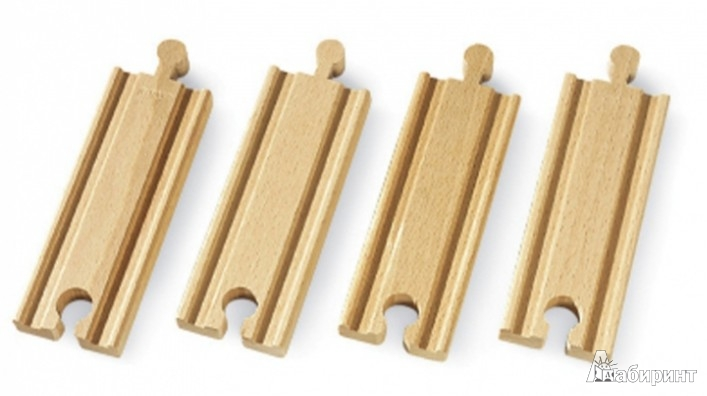 Иллюстрация 1 из 4 для Железная дорога - полотно, прямое, 10,8см, 4 детали в наборе.(33334) | Лабиринт - игрушки. Источник: Лабиринт