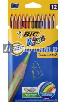 Карандаши цветные пластиковые Тропикулер-2 (12 цветов) (832566) bic цветные карандаши evolution новогодний набор 18 цветов