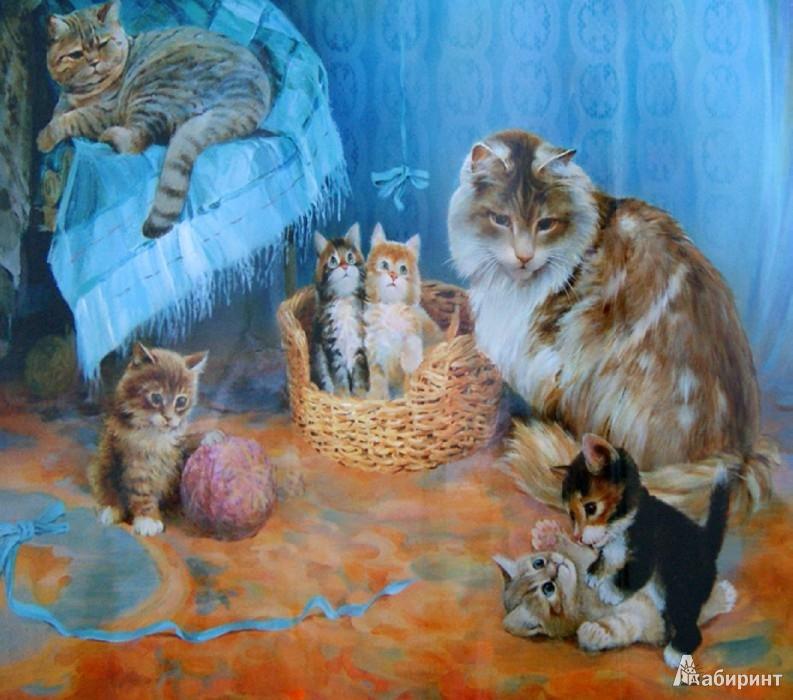 Новым годом, кошка с котенком картинка для детей