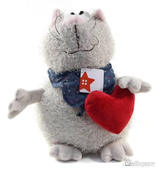 Иллюстрация 1 из 2 для Мягкая игрушка Кот серый с сердцем 23 см (К82010В) | Лабиринт - игрушки. Источник: Лабиринт