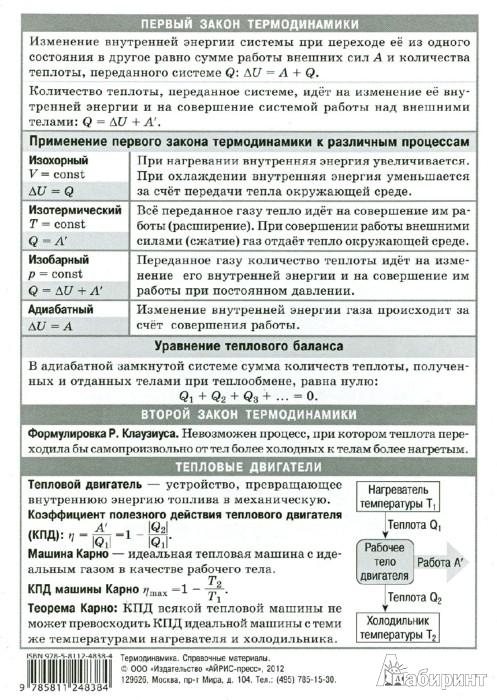 Иллюстрация 1 из 5 для Термодинамика. Наглядно-раздаточное пособие | Лабиринт - книги. Источник: Лабиринт