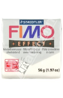 FIMO Effect полимерная глина, 56 гр., цвет белый металлик (8020-052) глина для моделирования fimo soft цвет прозрачный 56 г