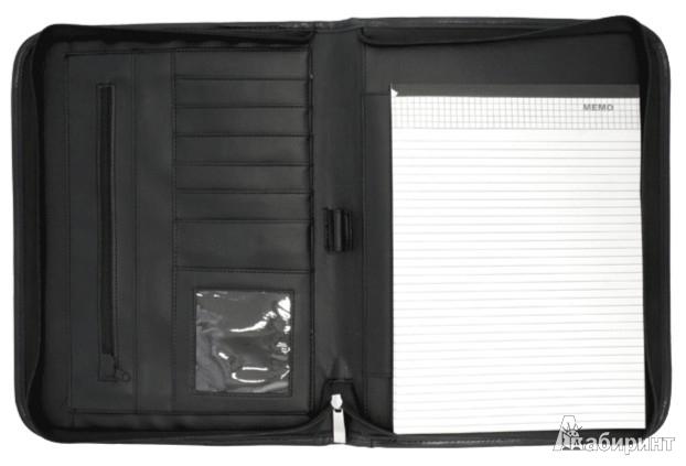 Иллюстрация 1 из 3 для Папка для документов на молнии из искусственной кожи черного цвета (PLF1718) | Лабиринт - канцтовы. Источник: Лабиринт