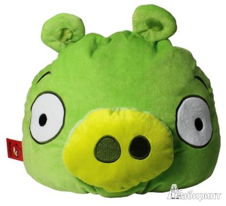 """Иллюстрация 1 из 7 для Angry Birds. Подушка """"Green pig"""", 30х25 см. (АВС12)   Лабиринт - игрушки. Источник: Лабиринт"""