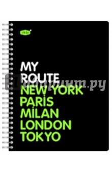 """Тетрадь 96 листов, клетка """"My Route"""" с пластиковой линейкой-разделителем (83311)"""