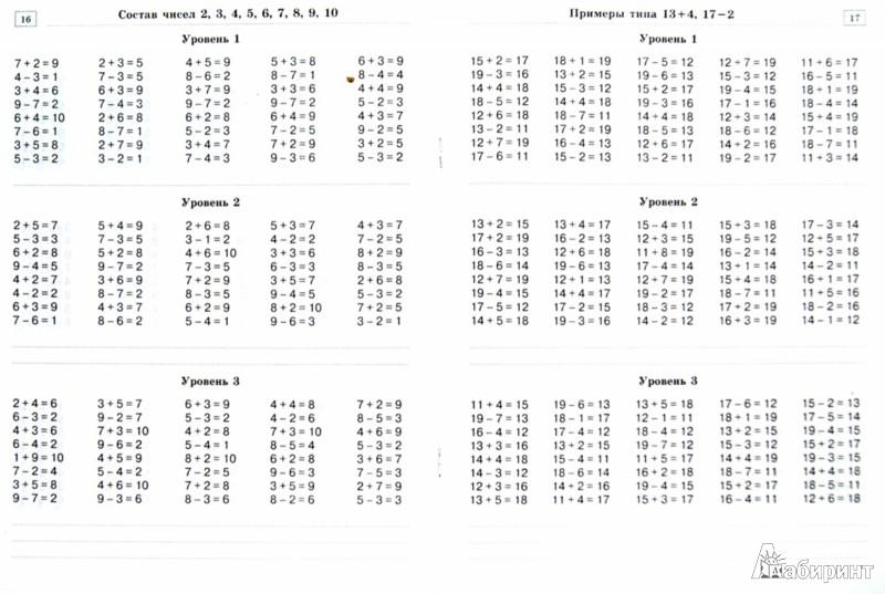 Математика 1 класс карточки с примерами и задачами
