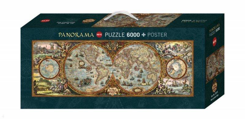 """Иллюстрация 1 из 5 для Puzzle-6000 """"Карта полушарий, панорама"""" (29615)   Лабиринт - игрушки. Источник: Лабиринт"""