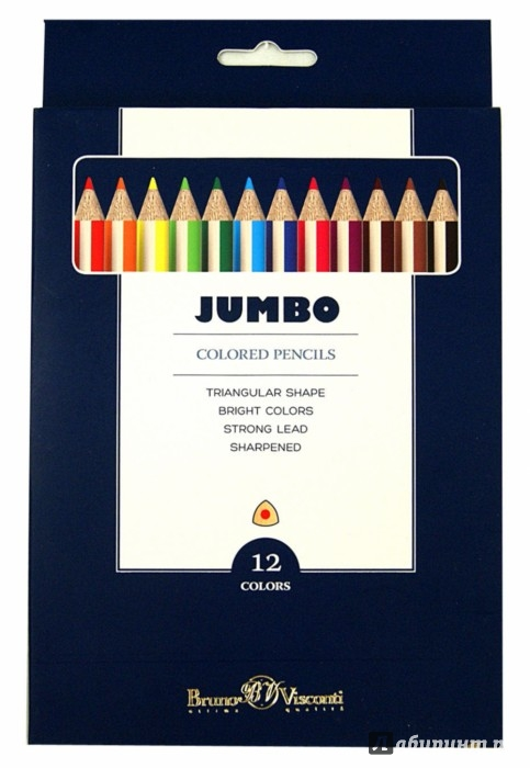 """Иллюстрация 1 из 3 для Цветные карандаши утолщенные """"JUMBO"""" 12 цветов (30-0006)   Лабиринт - канцтовы. Источник: Лабиринт"""