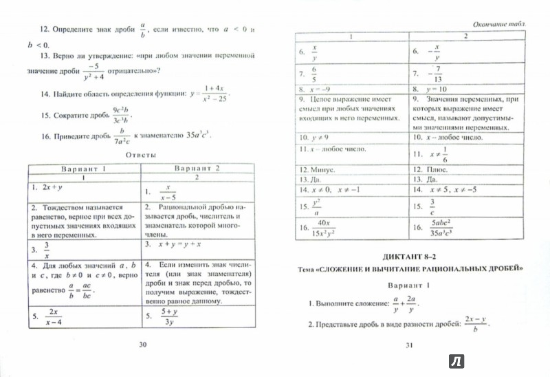 Иллюстрация 1 из 5 для Алгебра. 7-9 классы. Математические диктанты. ФГОС - Анна Конте | Лабиринт - книги. Источник: Лабиринт