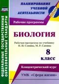 Биология. 8 класс. Рабочая программа по учебнику Н.И. Сонина, М.Р. Сапина. УМК