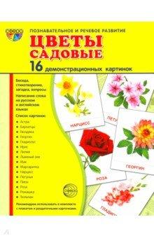 """Демонстрационные картинки """"Цветы садовые"""" (16 штук)"""
