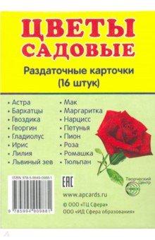 """Раздаточные карточки """"Цветы садовые"""" (16 штук)"""