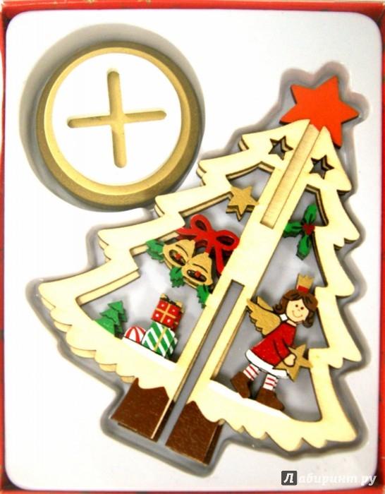 Иллюстрация 1 из 4 для Ель новогодняя из дерева (14 см) (35260) | Лабиринт - сувениры. Источник: Лабиринт