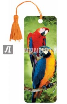 """3D закладка для книг с линейкой """"Попугаи"""" (125772)"""