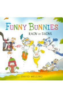 Funny Bunnies: Rain or Shine (board book) david booth display advertising an hour a day