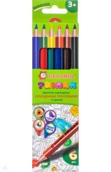 Карандаши цветные треугольные утолщенные  (6 цветов) (B33306/T)