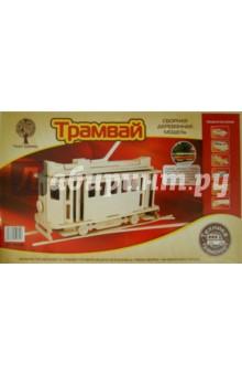 Купить Сборная деревянная модель Трамвай (80005), ВГА, Сборные 3D модели из дерева неокрашенные макси