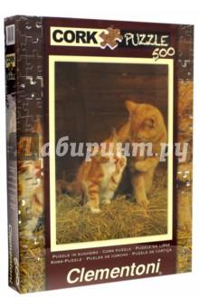 Пазл-500. Кошка с котенком. Пробковый (30205)