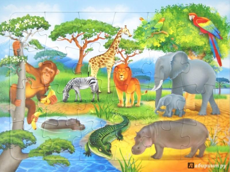 Иллюстрация 1 из 3 для Пазл. В Африке. 24 детали | Лабиринт - игрушки. Источник: Лабиринт