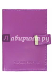 Обложка на автодокументы с кнопкой (кожа, фиолетовая)