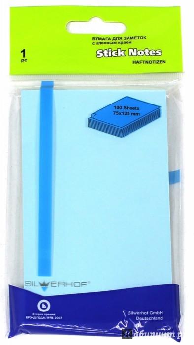 Иллюстрация 1 из 8 для Бумага клейкая для заметок. 100 листов, 75х125 мм, голубая (682005-004) | Лабиринт - канцтовы. Источник: Лабиринт